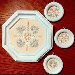 Framed cross stitch decor set
